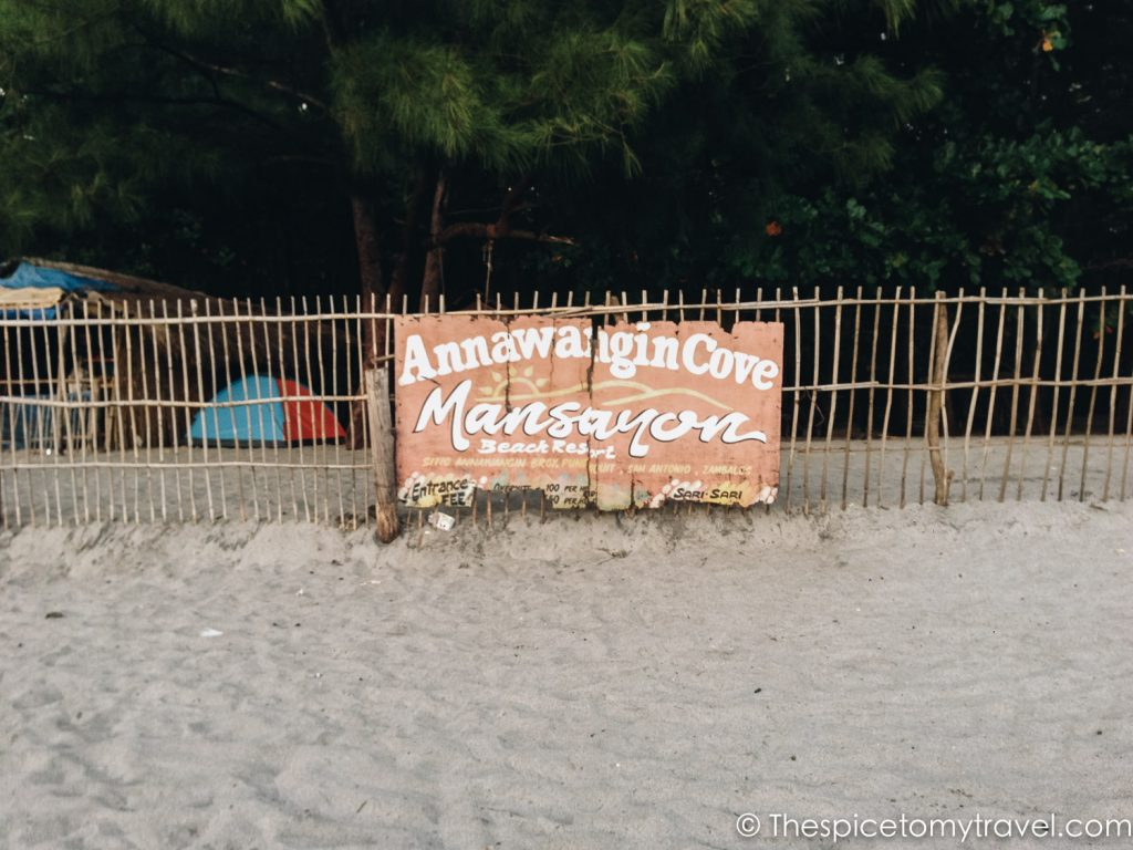 welcome sign to anawangin coves